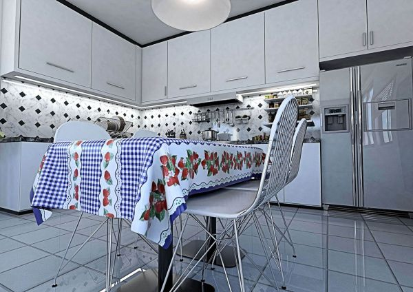 Toalha de mesa Térmica Xadrez com Morango Azul