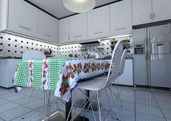 Toalha de mesa Térmica Xadrez com Morango Verde