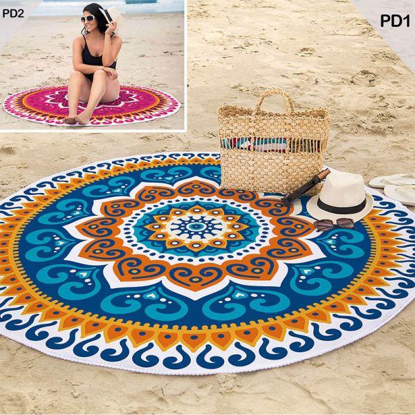 Toalha de Praia redonda aveludada - Estampada Mandala PD1 - Lepper