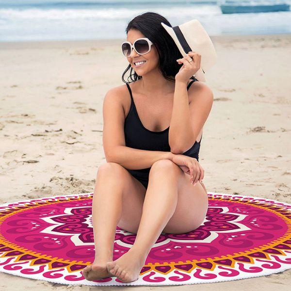 Toalha de Praia redonda aveludada - Estampada Mandala PD2 - Lepper