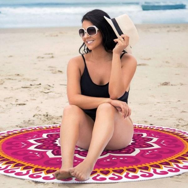 Toalha de Praia redonda aveludada mandala rosa - Lepper
