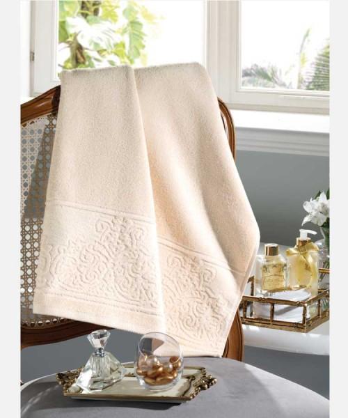 Toalha de Rosto 100% algodão Jacquard Confort Bege - Dohler