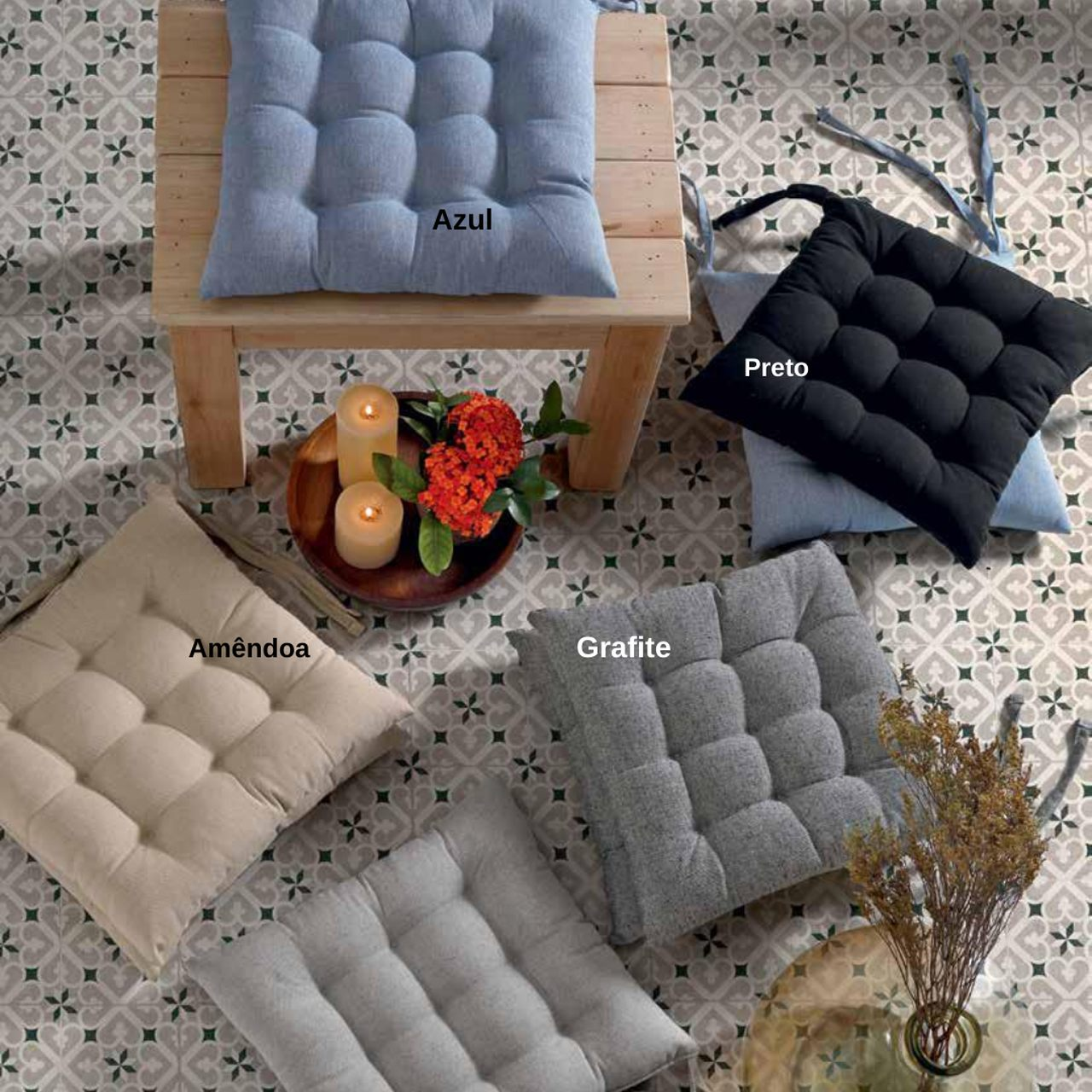 Almofada Futton para cadeira 45x45cm - Preto