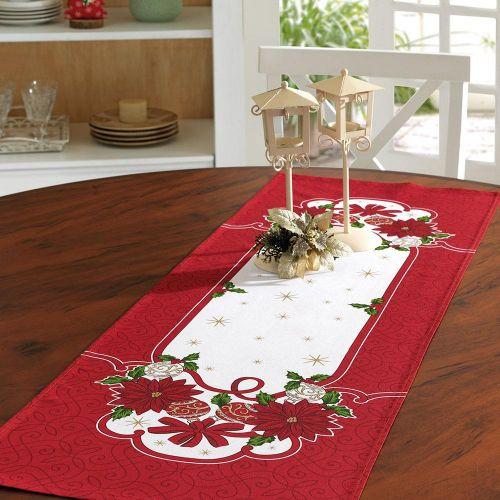 Caminho de Mesa Flor de Natal Vermelha 35cm X 1,00m Genebra - Dohler