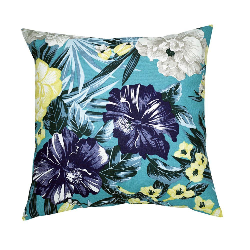Capa de almofada decorativa 45x45 impermeável estampada folhagem azul