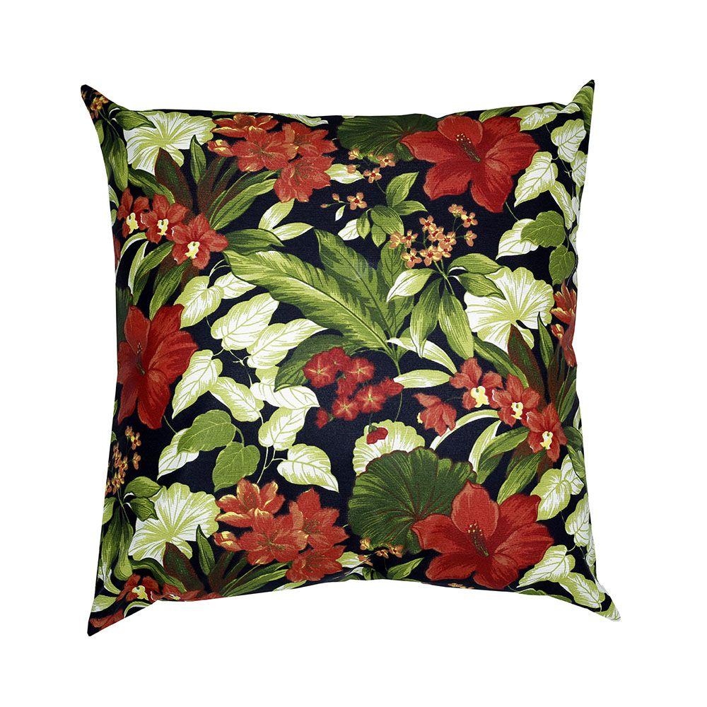 Capa de almofada decorativa 45x45 impermeável estampada folhagem vermelha com fundo preto