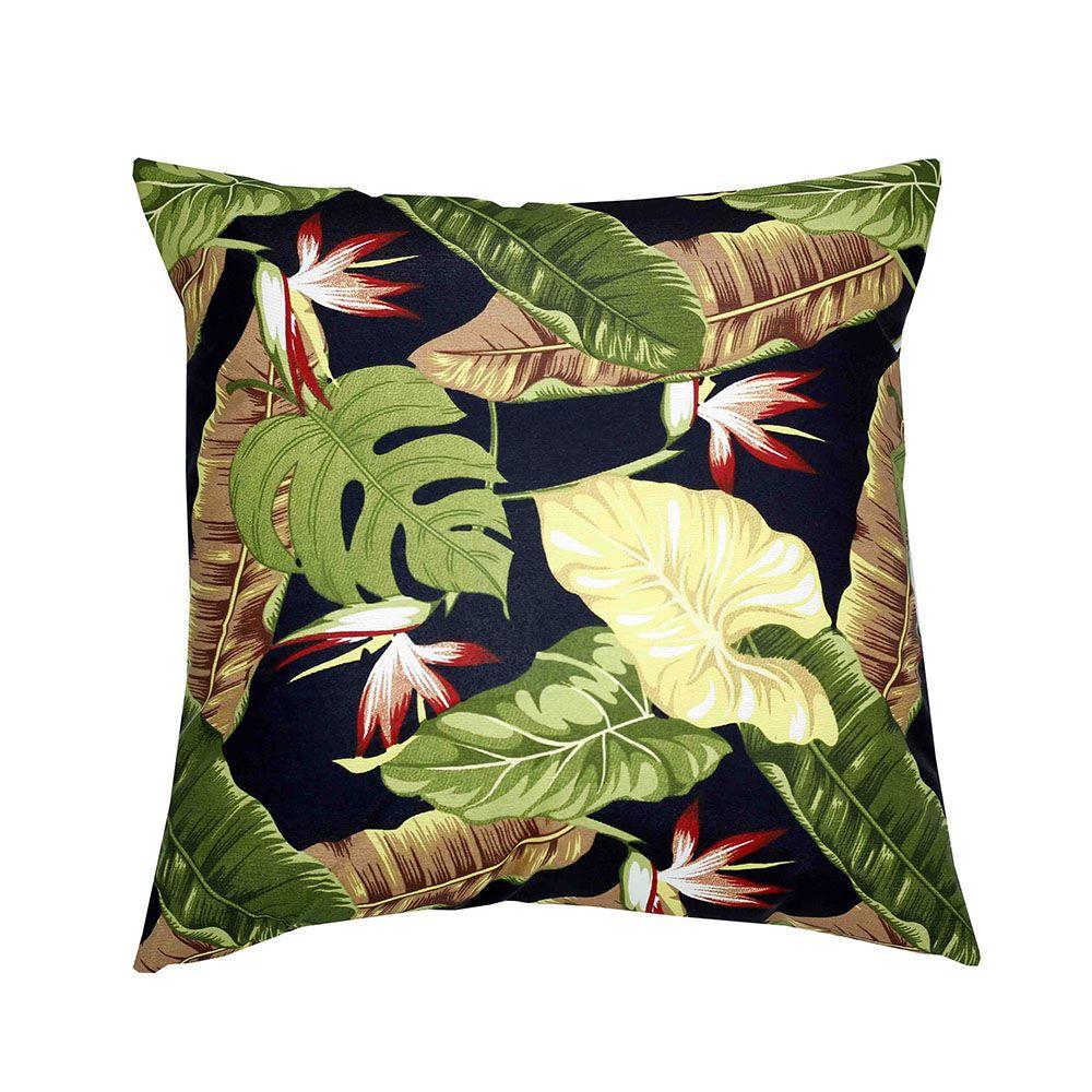 Capa de almofada Impermeável 45 x 45 Estampada Folhagem Verde com fundo preto
