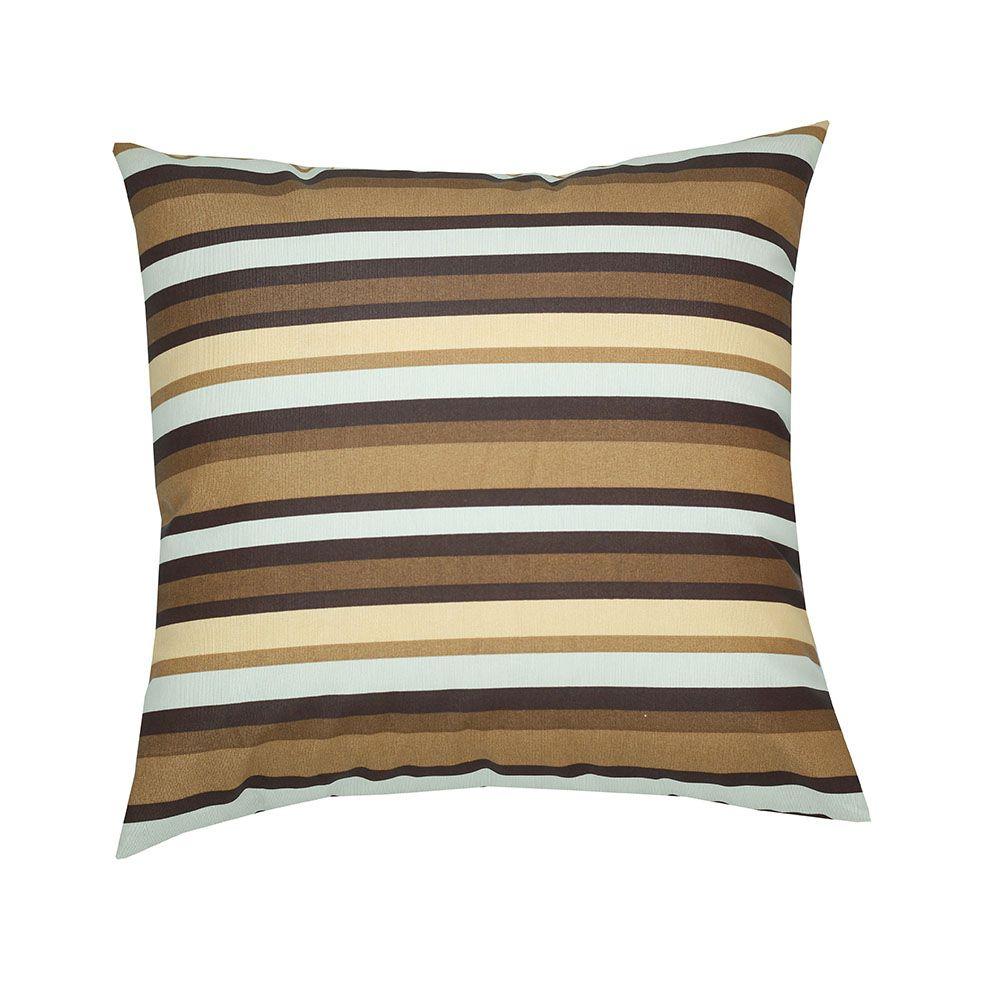 Capa de almofada decorativa 45x45 impermeável estampada listrada marrom