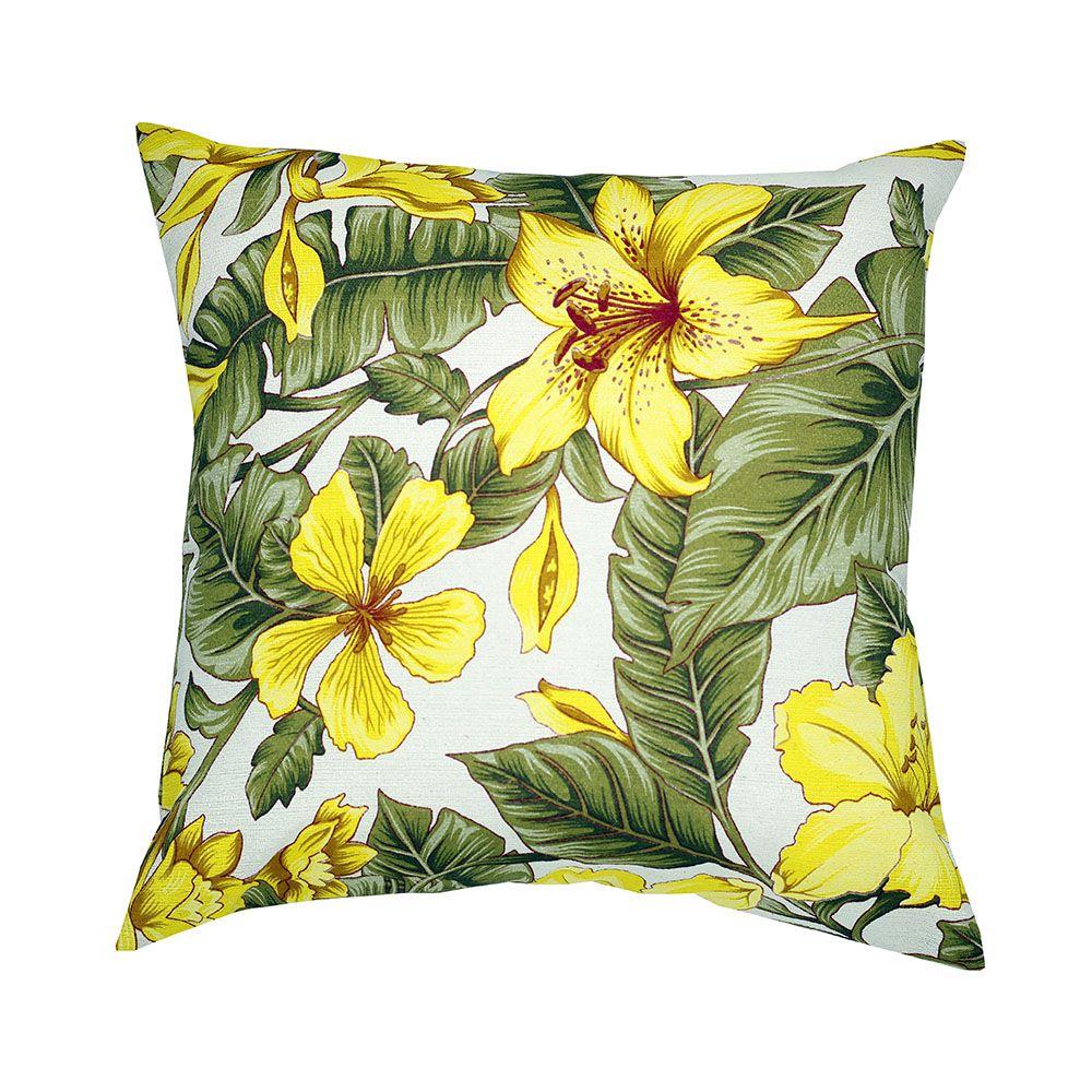Capa de almofada Linhão 45 x 45 Estampada Florida Amarelo