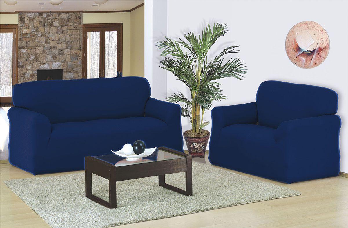 Capa para sofá 2 e 3 Lugares em malha elástica Azul Marinho - A Favorita