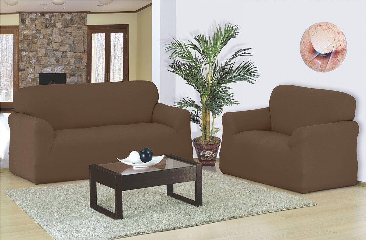 Capa para sofá 2 e 3 Lugares em malha elástica Tabaco - A favorita