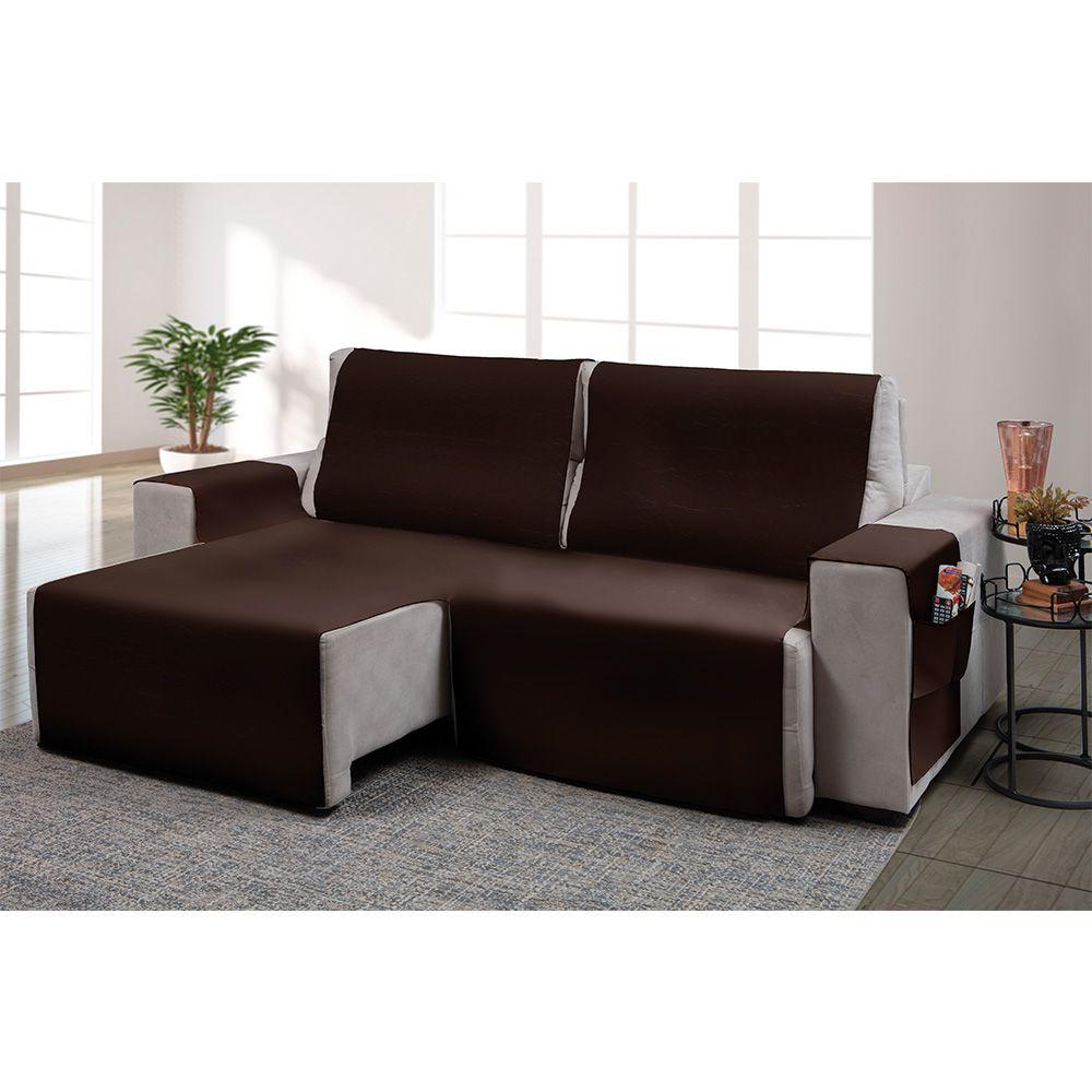 Capa para sofá retrátil Ônix para assento de 1,80m marrom - Adomes