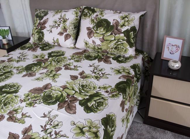 Colcha casal piquet estampada flores verdes - OMA Enxovais