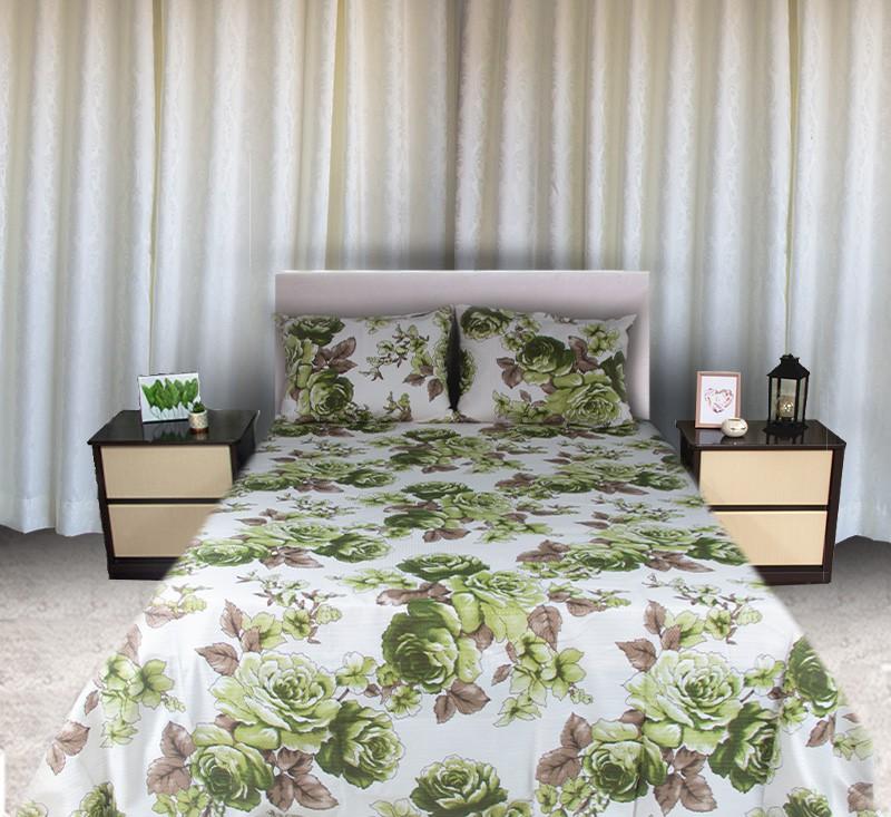 Colcha Queen Piquet Estampada Flores Verdes - OMA Enxovais