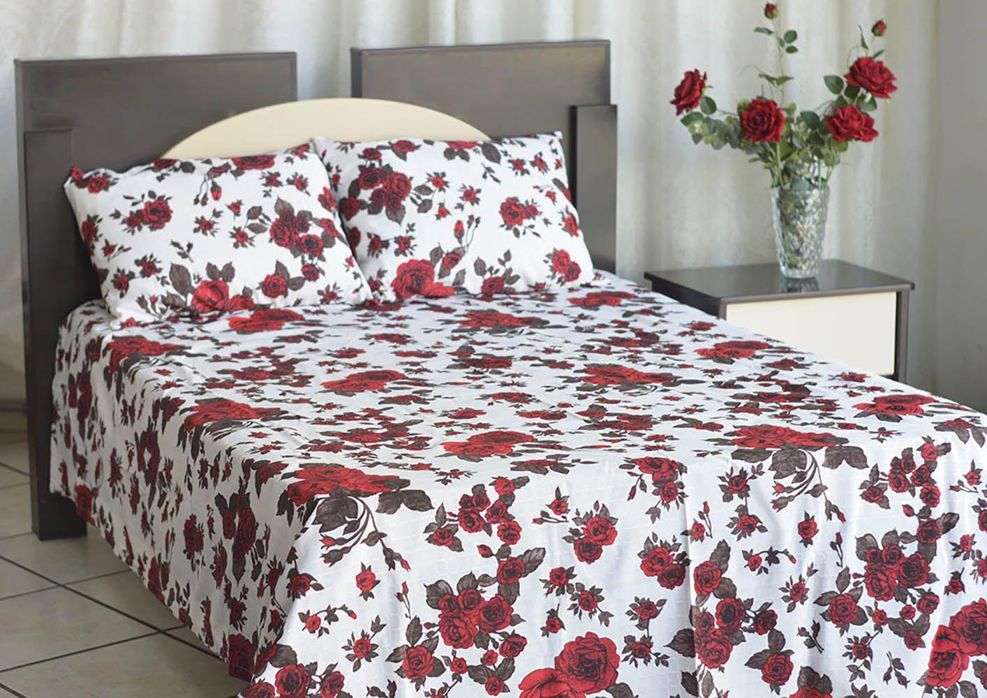 Colcha de casal texturatto estampada Rosas Vermelhas - OMA Enxovais