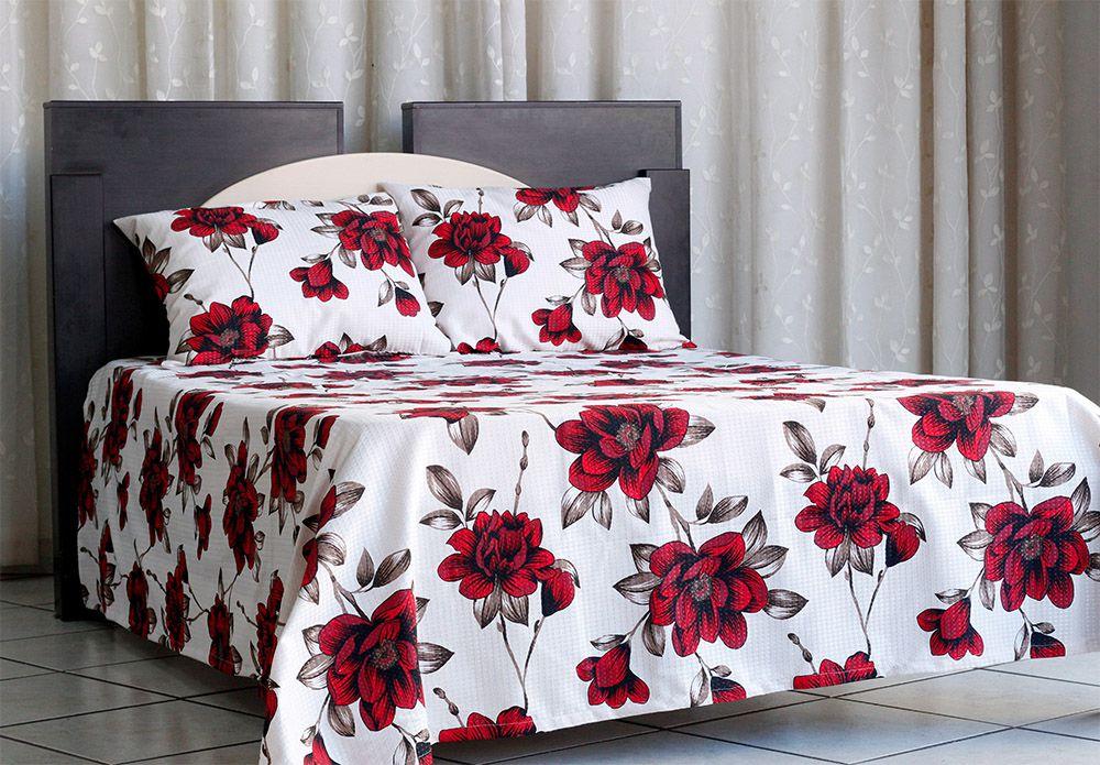 Colcha de casal piquet estampada Flores Vermelhas - OMA Enxovais