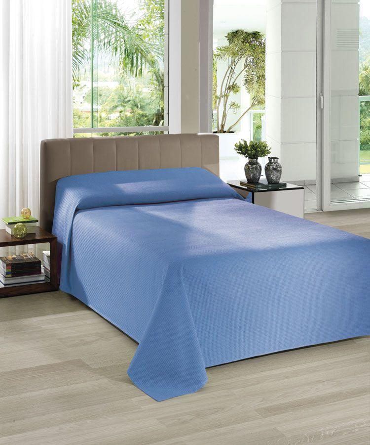 Colcha de casal Dohler Piquet Liso - Azul Escuro 10195