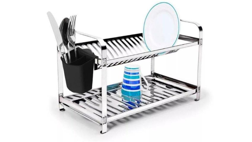 Escorredor de pratos aço inox - 16 Pratos