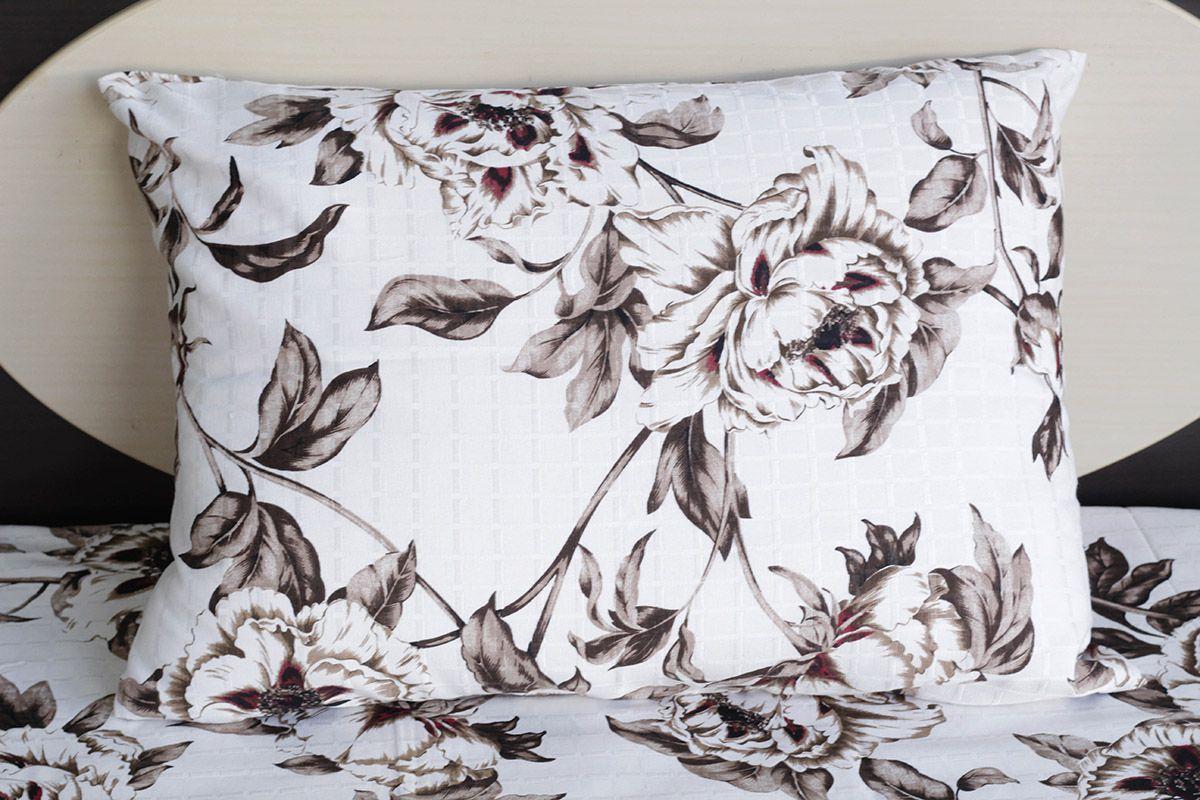 Fronha de travesseiro texturatto estampada florida marrom com detalhes vermelhos - OMA Enxovais