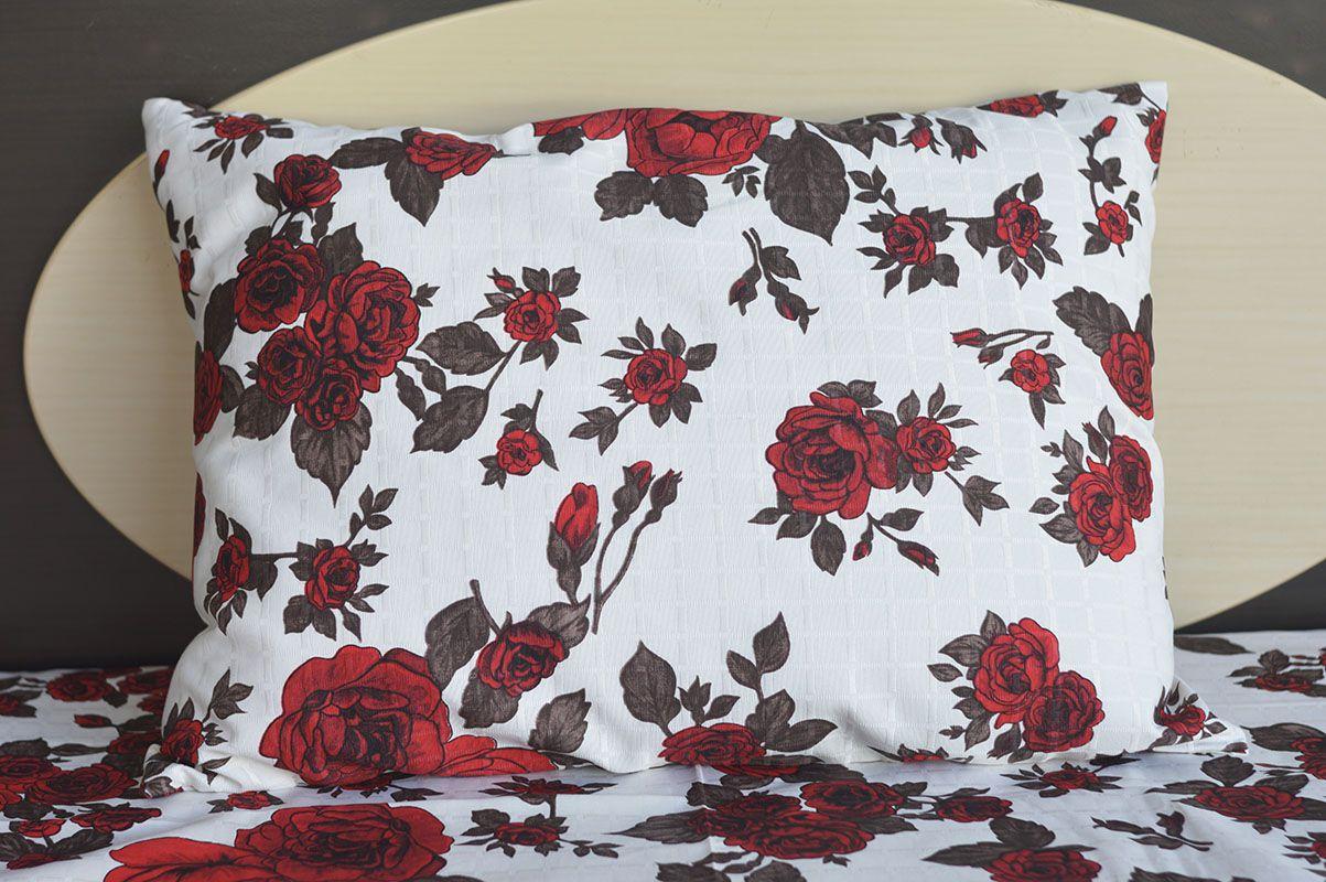 Fronha de travesseiro texturatto estampada rosas vermelhas - OMA Enxovais