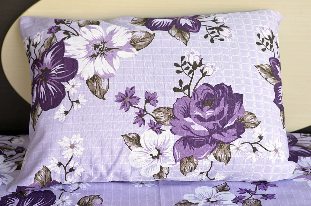Fronha de travesseiro texturatto estampada florida roxa - OMA Enxovais