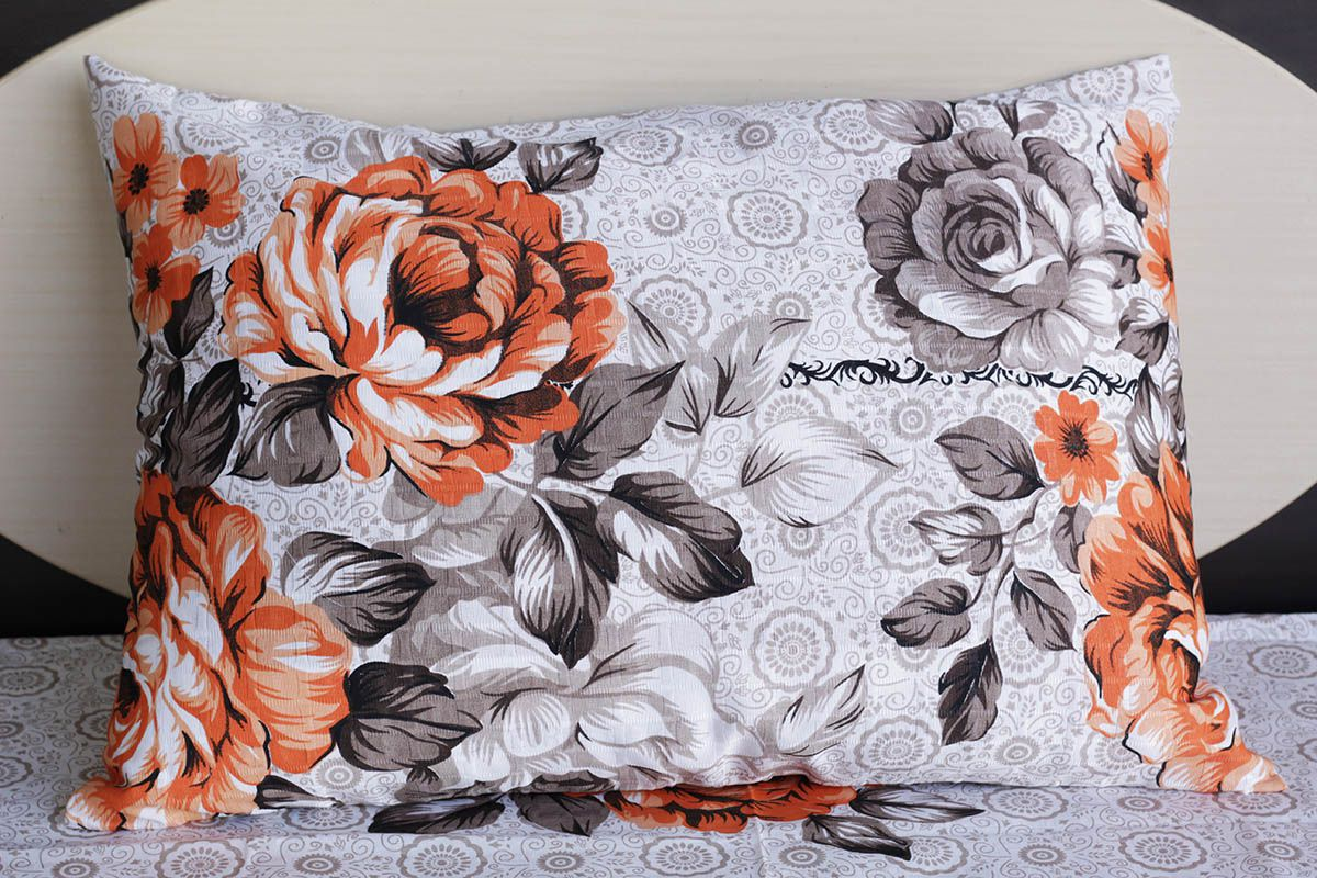 Fronha de travesseiro texturatto estampada florida alaranjada - OMA Enxovais
