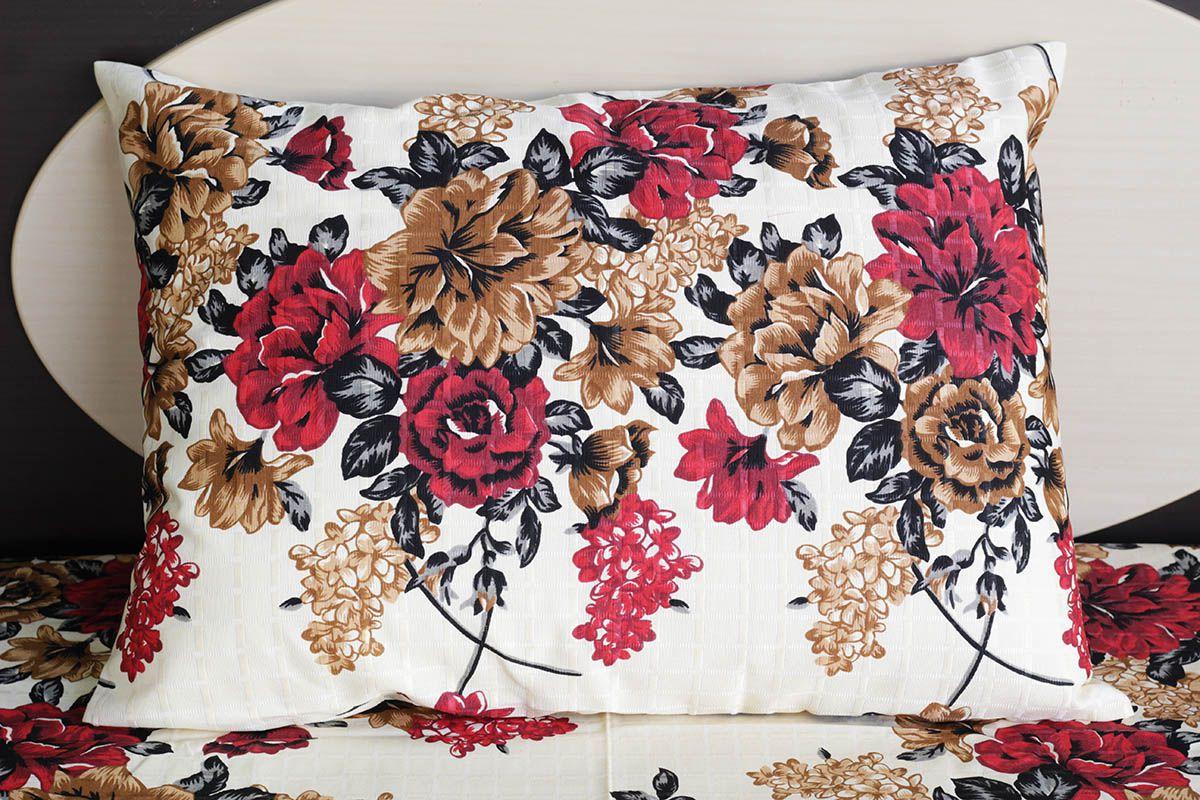 Fronha de travesseiro texturatto estampada floral vermelho e marrom - OMA Enxovais