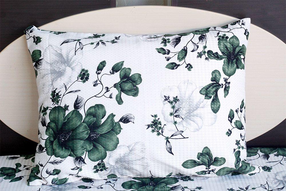 Fronha de travesseiro piquet Flores Verdes - OMA Enxovais
