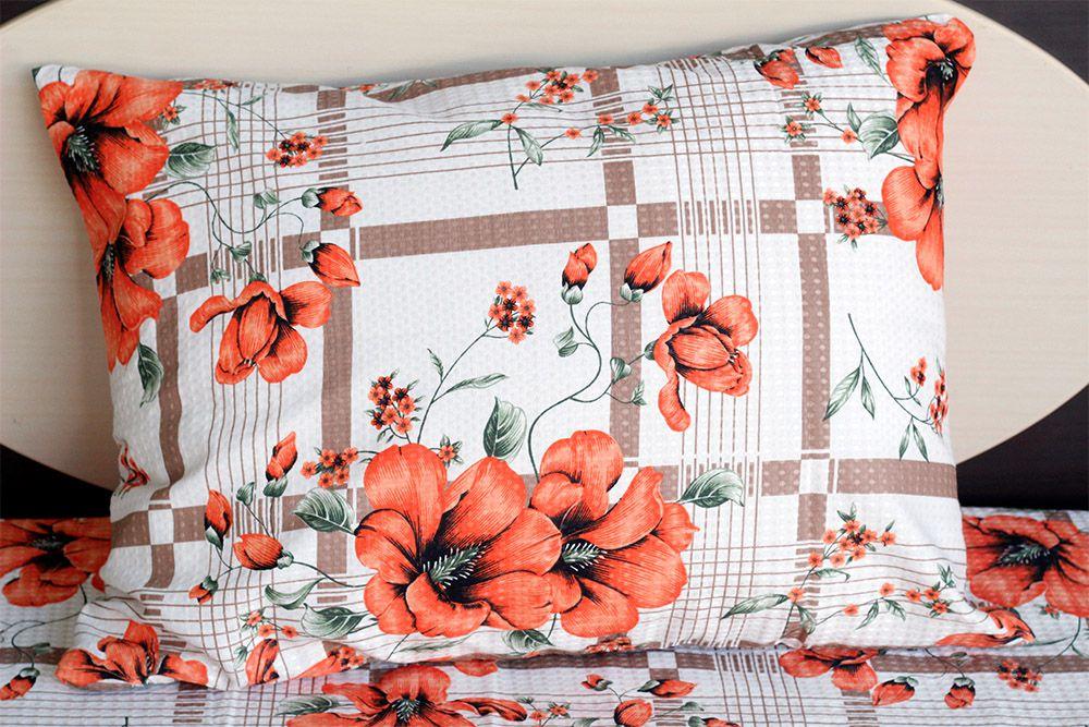 Fronha de travesseiro piquet Florida alaranjada com listras - OMA Enxovais
