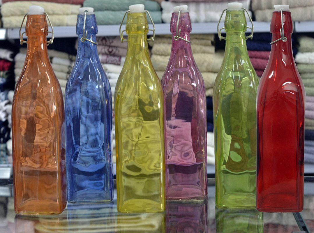 Garrafa de Vidro Quadrada 1L - várias cores - Niazitex