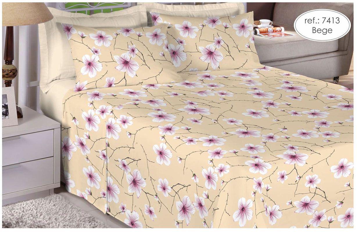 Jogo de cama casal 100% algodão Premium Plus estampado Bege com Flores Brancas 7413