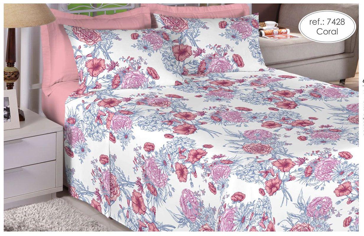Jogo de cama de casal 100% algodão Premium Plus - Coral 7428