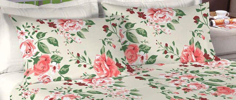 Jogo de cama casal 100% algodão Premium Plus estampado Pérola com Rosas  7316-3