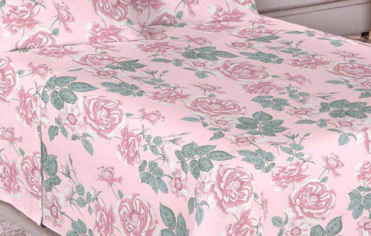 Jogo de cama casal 100% algodão Premium Plus estampado Rosa Claro com Detalhes Verdes 7432