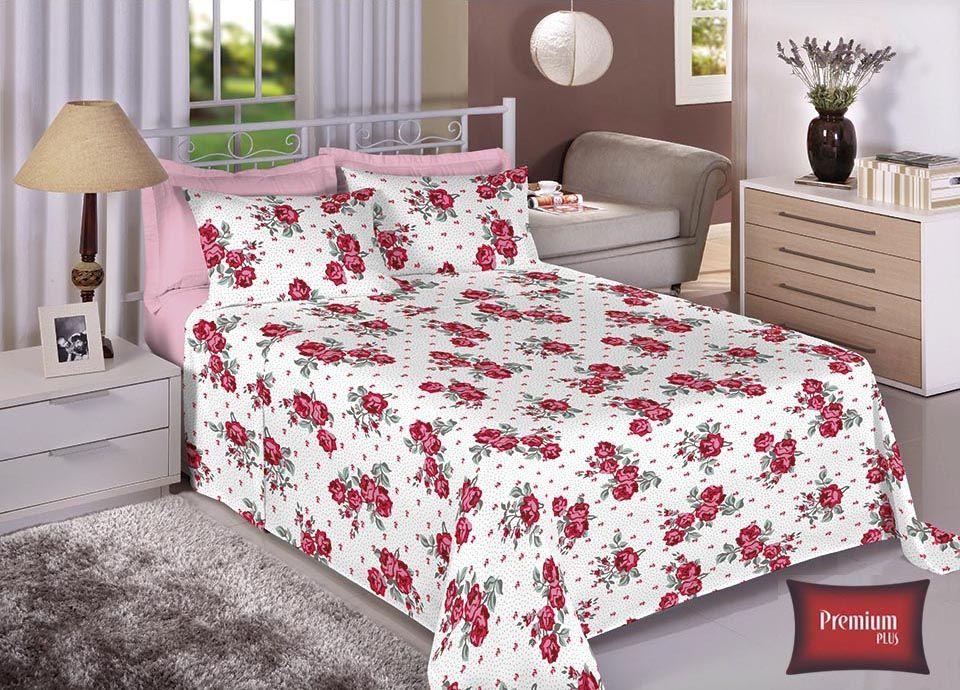 Jogo de cama casal 100% Algodão Ultra Macio -Premium Plus Estamparia - 7312