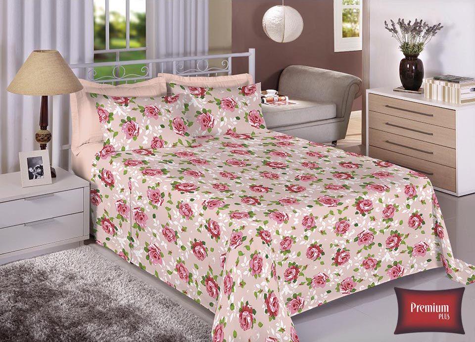 Jogo de cama casal 100% Algodão Ultra Macio -Premium Plus Estamparia - 7314