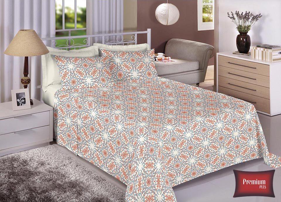 Jogo de cama casal 100% Algodão Ultra Macio -Premium Plus Estamparia - 7319