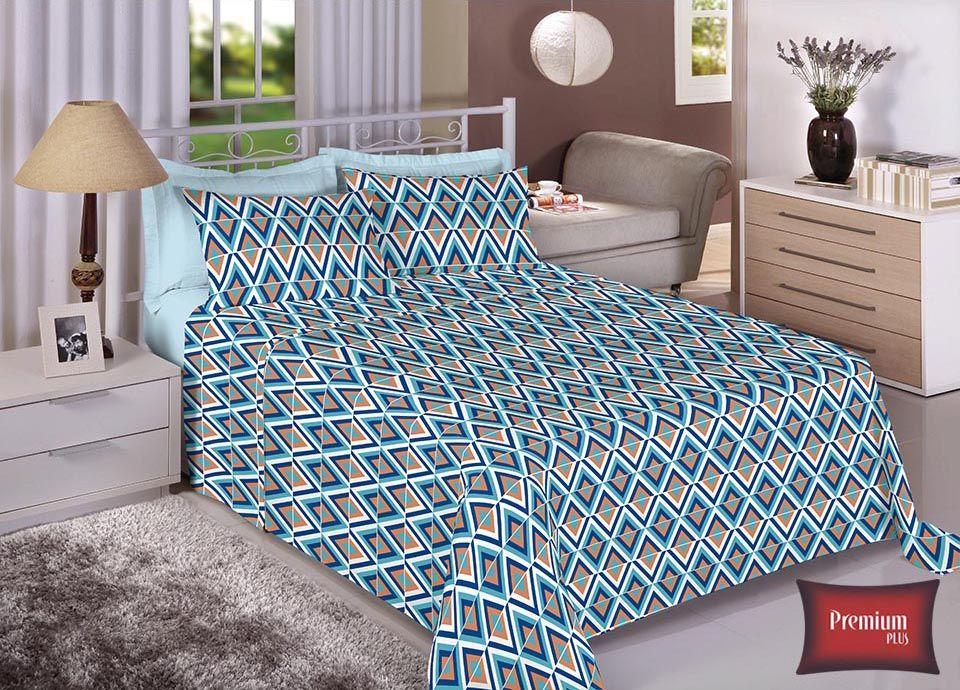 Jogo de cama casal 100% Algodão Ultra Macio -Premium Plus Estamparia - 7321