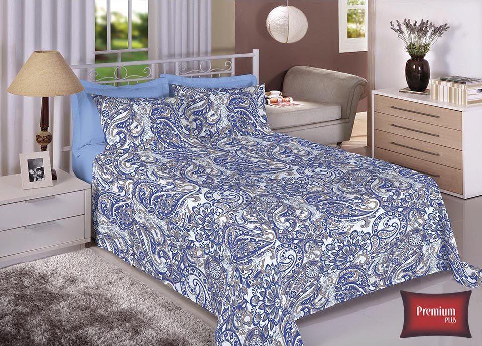 Jogo de cama casal 100% Algodão Ultra Macio -Premium Plus Estamparia - 7322
