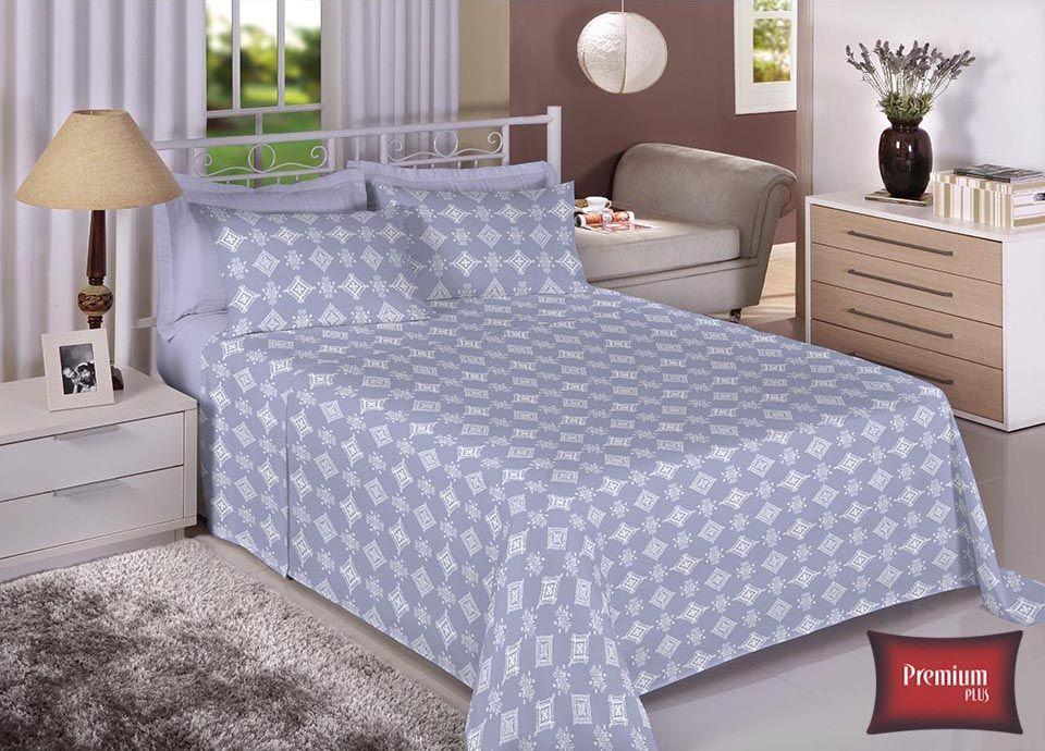 Jogo de cama casal 100% Algodão Ultra Macio -Premium Plus Estamparia - 7329