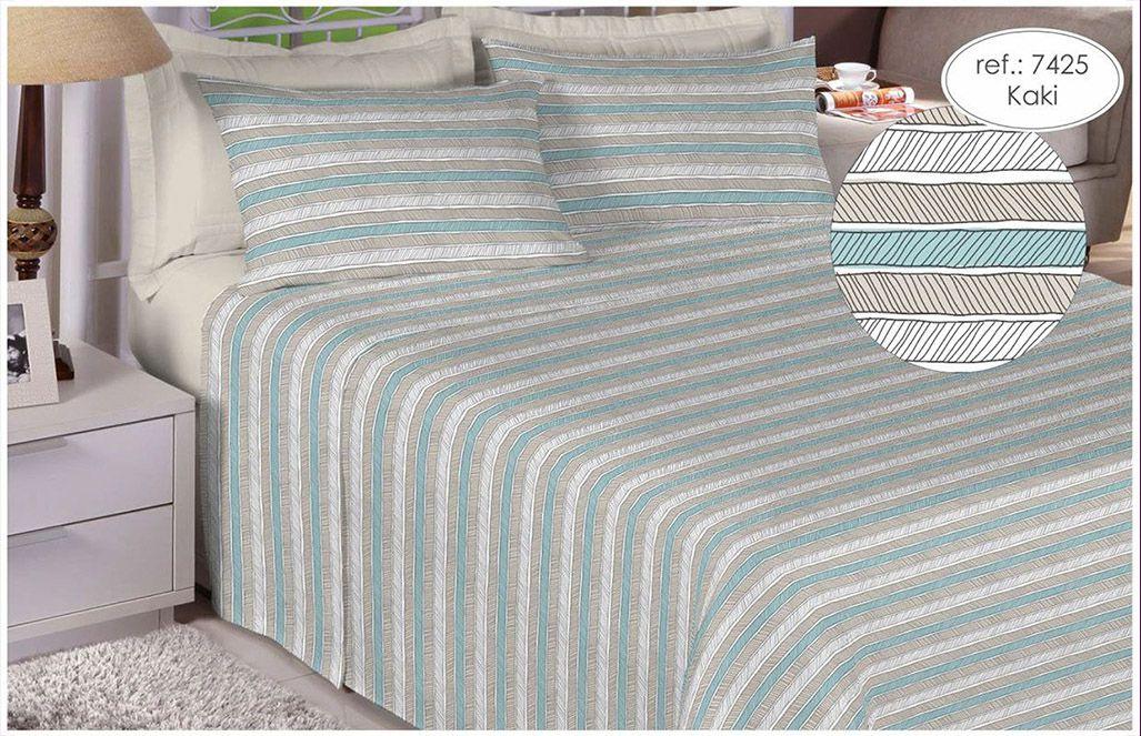 Jogo de cama casal 150 fios 100% algodão estampado - Kaki 7425