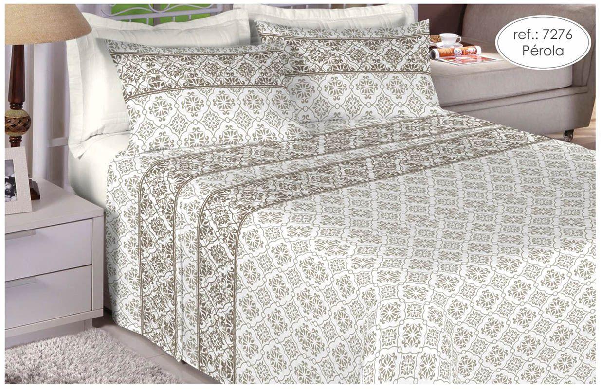 Jogo de cama casal 150 fios 100% algodão estampado Pérola 7276