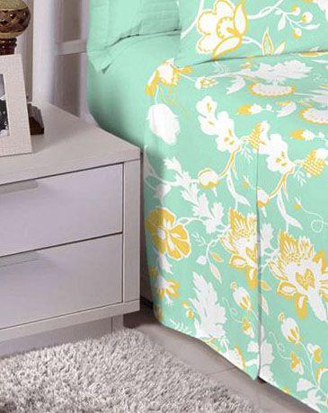 Jogo de cama casal 150 fios 100% algodão estampado - Verde  7423