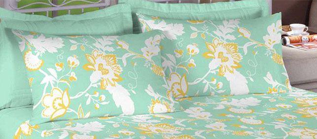Jogo de cama casal 150 fios 100% algodão estampado Verde Florido 7423
