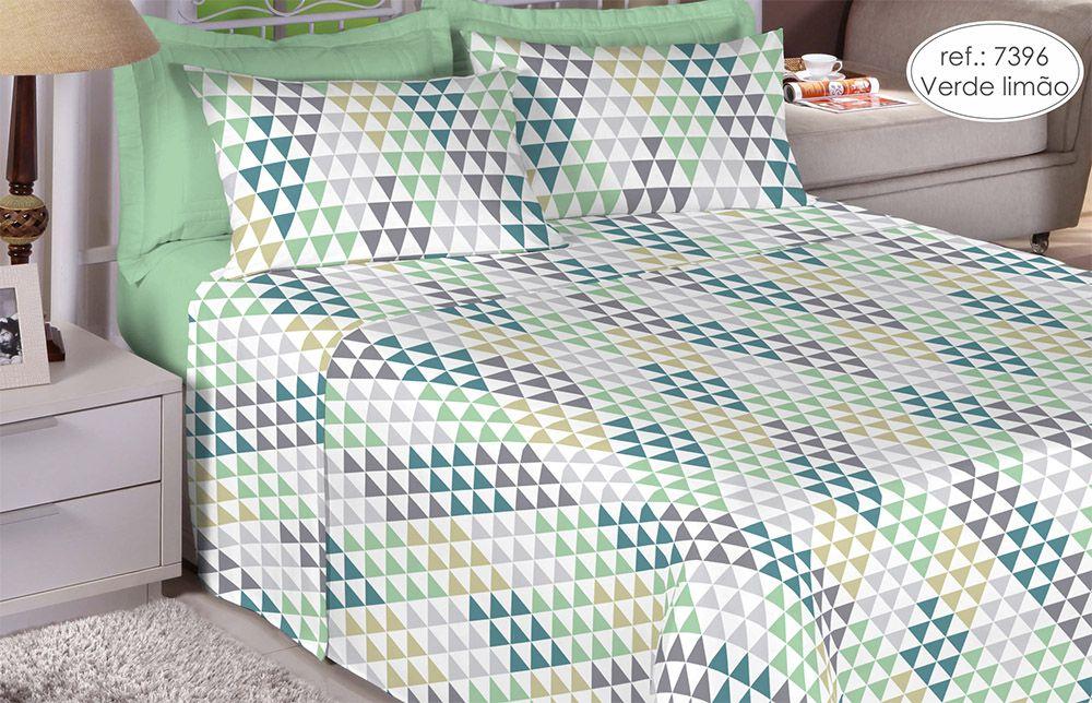 Jogo de cama casal 150 fios 100% algodão estampado - Verde Limão 7396