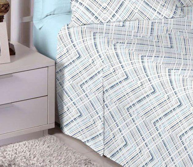 Jogo de cama casal percal 180 fios 100% algodão estampado Linhas Pontilhadas Azul 7394