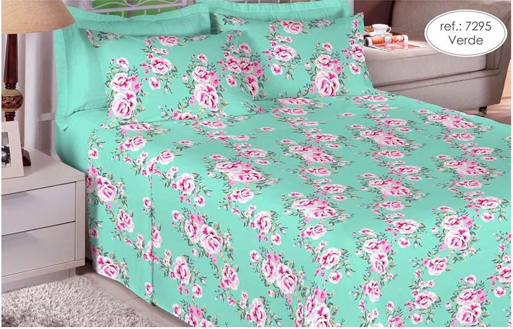 Jogo de cama casal percal 180 fios 100% algodão estampado Verde com Rosa 7295