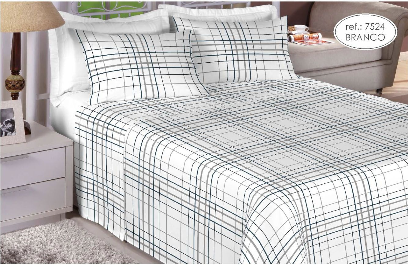 Jogo de cama casal 200 fios 100% algodão - estampado branco 7524
