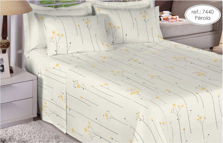 Jogo de cama casal 200 fios 100% algodão - estampado pérola 7440