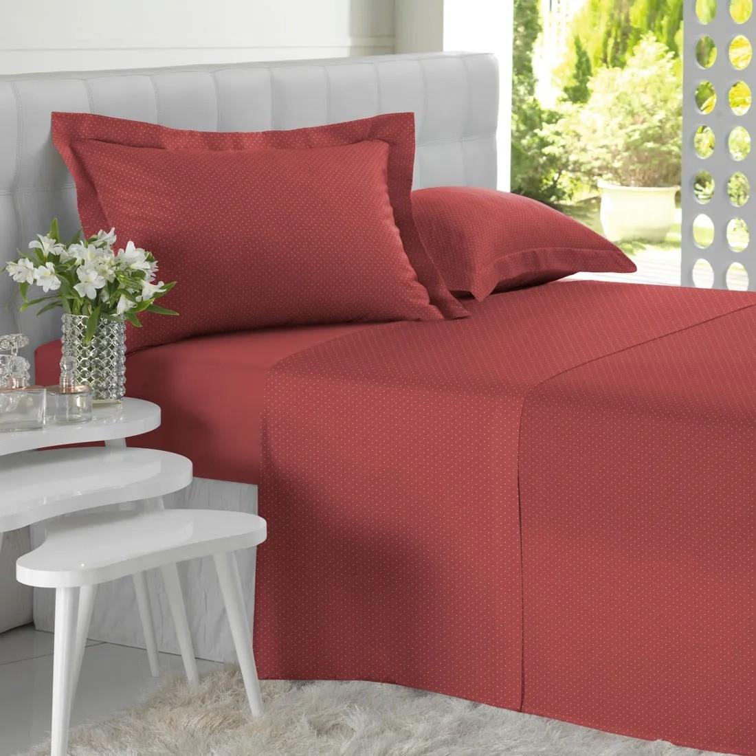 Jogo de cama casal all desing mini poá vermelho - Altenburg